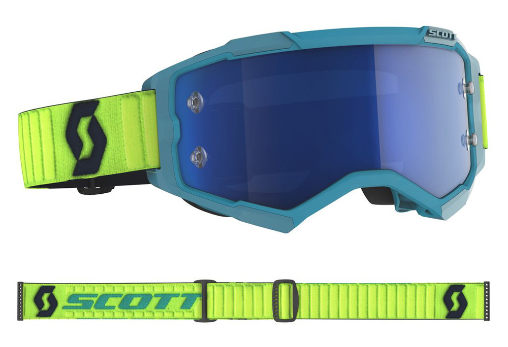Masque cross Scott Fury Teal-Jaune Fluo 2020