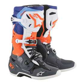 Bottes cross Alpinestars Tech 10 Orange Fluo-Bleu 2020