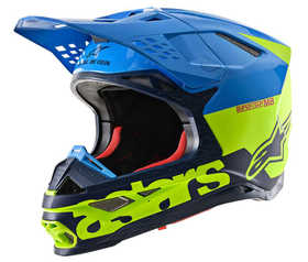 Casque cross Alpinestars Supertech M8 Radium Bleu-Jaune Fluo 2021