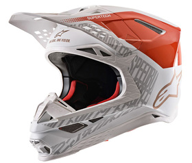 Casque cross Alpinestars Supertech M8 Triple Orange-Blanc 2021
